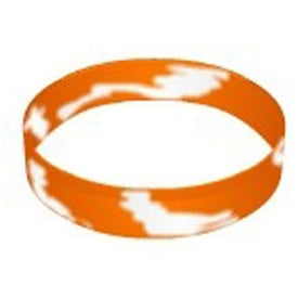 Imprinted Awareness Color Filled Swirl Silicone Wristband Keychain