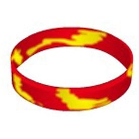 Embossed Color Filled Swirl Silicone Wristband Keychain