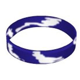Printed Swirl Silicone Wristband Keychain for Your Organization