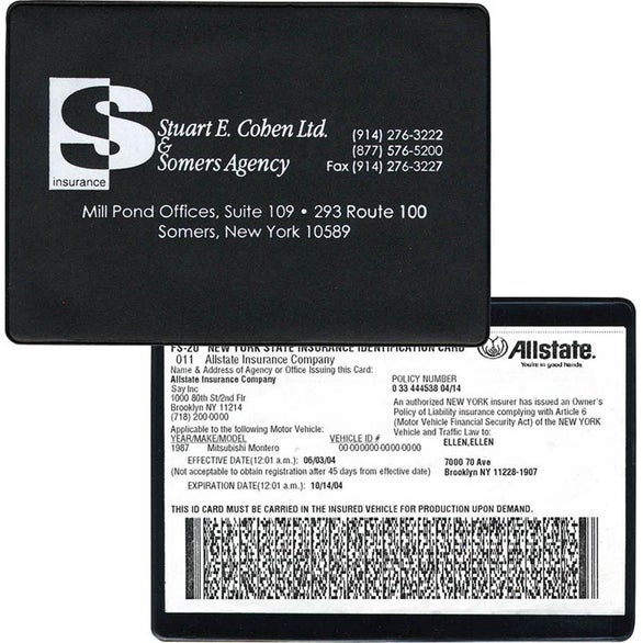 Black Copy Guard Vinyl Insurance Card Holder