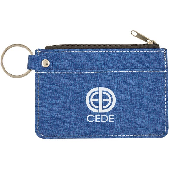 Royal Blue Heathered Card Wallet with Key Ring