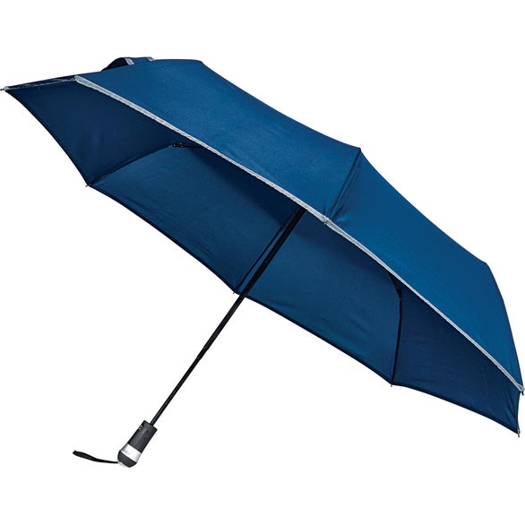 Navy Blue LED Light Handle Auto Open/Close Umbrella