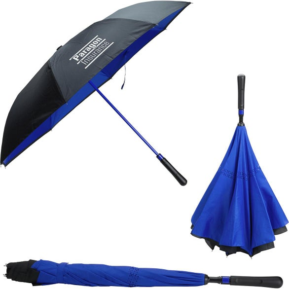 Black / Blue Skyline Two-Tone Inversion Umbrella