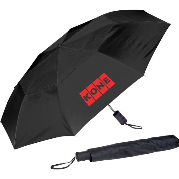 Black Vented Auto Open Folding Umbrella