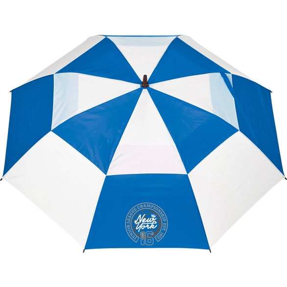 Blue / White Windproof Full Fiberglass Vented Umbrella