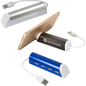 Aluminum 4 Port USB Hub with Phone Stand