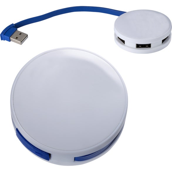 Reflex Blue / White Round 4 Port USB Hub