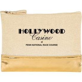 Cotton Cosmetic Bag with Metallic Accent
