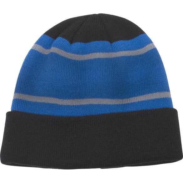 Black / Blue Acrylic Stripe Beanie with Cuff