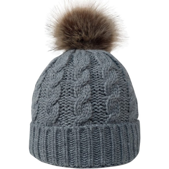 2087a76b3f9 Cable Knit Beanie with Faux Fur Pom