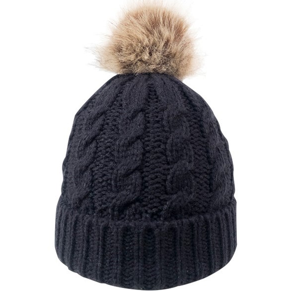 Black Cable Knit Beanie with Faux Fur Pom