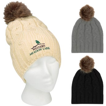 10ad58c82125d CLICK HERE to Order Cameron Cable Knit Pom Beanies Printed with Your ...