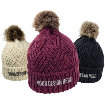 cda45bfb70265 CLICK HERE to Order Cross Hatch Beanie with Faux Fur Poms Printed ...