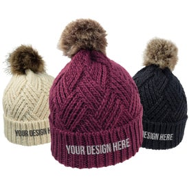 Cross Hatch Beanie with Faux Fur Pom (Unisex)