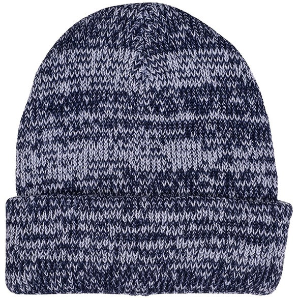 Navy Heathered Marbled Knit Beanie with Cuff