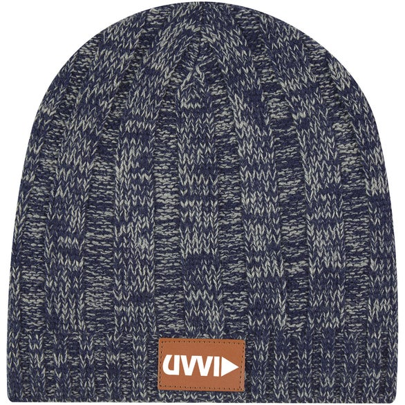 Navy Blue / Gray Knit Beanie with Leather Tag