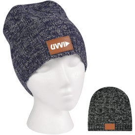 Knit Beanie with Leather Tag (Unisex)