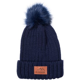 Leeman Knit Cuffed Rib Beanie with Pom Pom