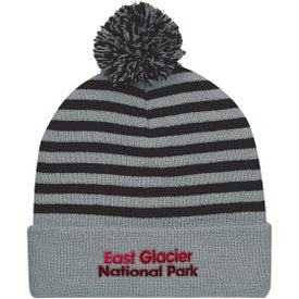 Polar Stripe Pom Beanie with Cuffs (Unisex)