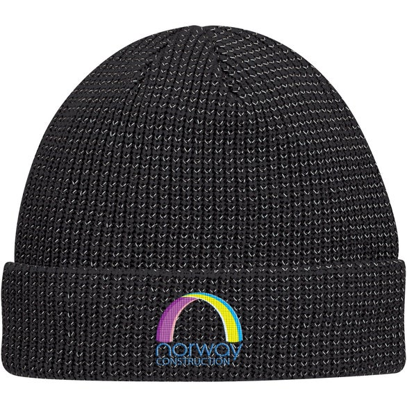 Black Reflective Beanie with Cuff