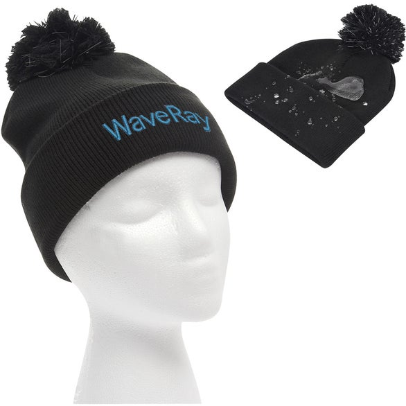 Black Water-Resistant Pom Beanie With Cuff